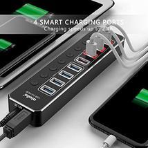 Powered USB Hub 3.0, atolla Aluminum 8-Port USB Hub with 4 USB 3.0 Data Ports an image 3