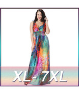 Women Oversize Rainbow Color Boho Long Maxi Beach Dresses Sundress Plus ... - $28.88