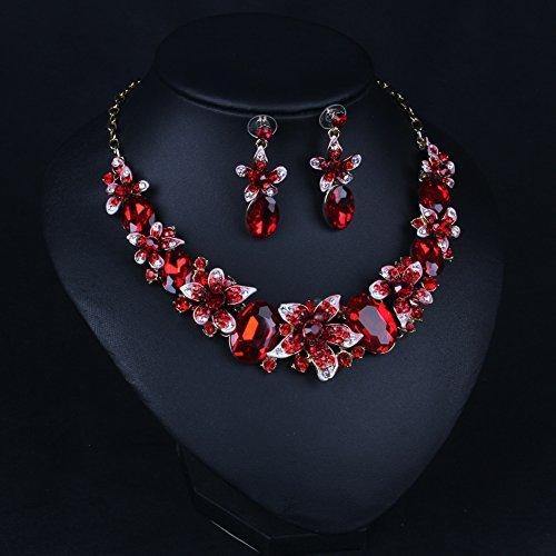 Hamer Women's Red Handmade Crystal Choker Flowers Statement Necklace Gold