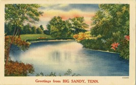 Greetings from Big Sandy Tennessee TN Posted Linen Postcard - $8.86