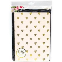 Websters Pages Composition Notebook Daily Tracker Gold Heart New Pink Un... - $11.74