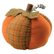 Gingham Pattern Pumpkin fabric pumpkin orange and green Fall Autumn  - £27.36 GBP