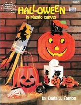 Halloween in Plastic Canvas ASN 3057 Pumpkins Black Cats Witch Wind Sock... - $12.86