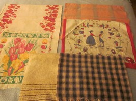 7 PC VINTAGE printed KITCHEN TEA TOWELS assorted styles sizes - $9.99