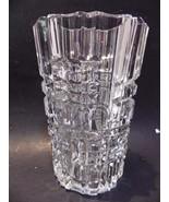 "Heavy Deep-Cut Crystal Glass Vase 8"" Oval Crosshatch Pattern - $24.74"