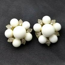Vintage Lisner White Milk Glass Beaded Clip On Earrings Signed - $15.48