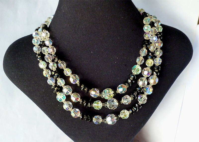 Vintage AB Crystal French Jet Bib Necklace Rhinestone Clasp 1950's