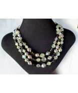 Vintage AB Crystal and French Jet Bib Necklace Rhinestone Clasp 1950's - $43.00