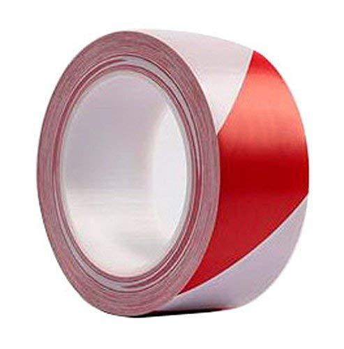 Warning Safety Stripe Tape Wear Heavy Tape (RED AND WHITE)