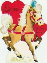 Vintage Valentine Card Horse With Heart Teacher Unused Hallmark - $5.93