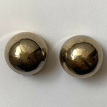 Bergere Dome Clip On Earrings Shiny Hammered Bubble Gold Tone Vintage Si... - $10.26