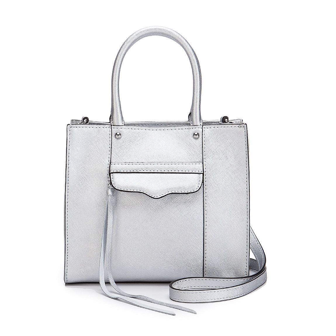Primary image for Rebecca Minkoff MAB Saffiano Leather Mini Metallic Silver Tote NWT