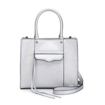 Rebecca Minkoff MAB Saffiano Leather Mini Metallic Silver Tote NWT - $138.11