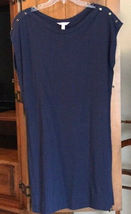 Lilly Pulitzer Sz M Robyn Sleeveless Shift Dress True Navy 6 Gold Buttons EUC image 8