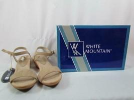 NIB White Mountain Ankle Strap Wedge Sandal Tan Suede Corky 075M Org $59 - $33.24