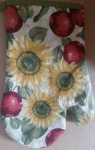 """Fabric Printed 12"""" Oven Mitt, SUNFLOWERS & APPLES with brown back - $7.91"""