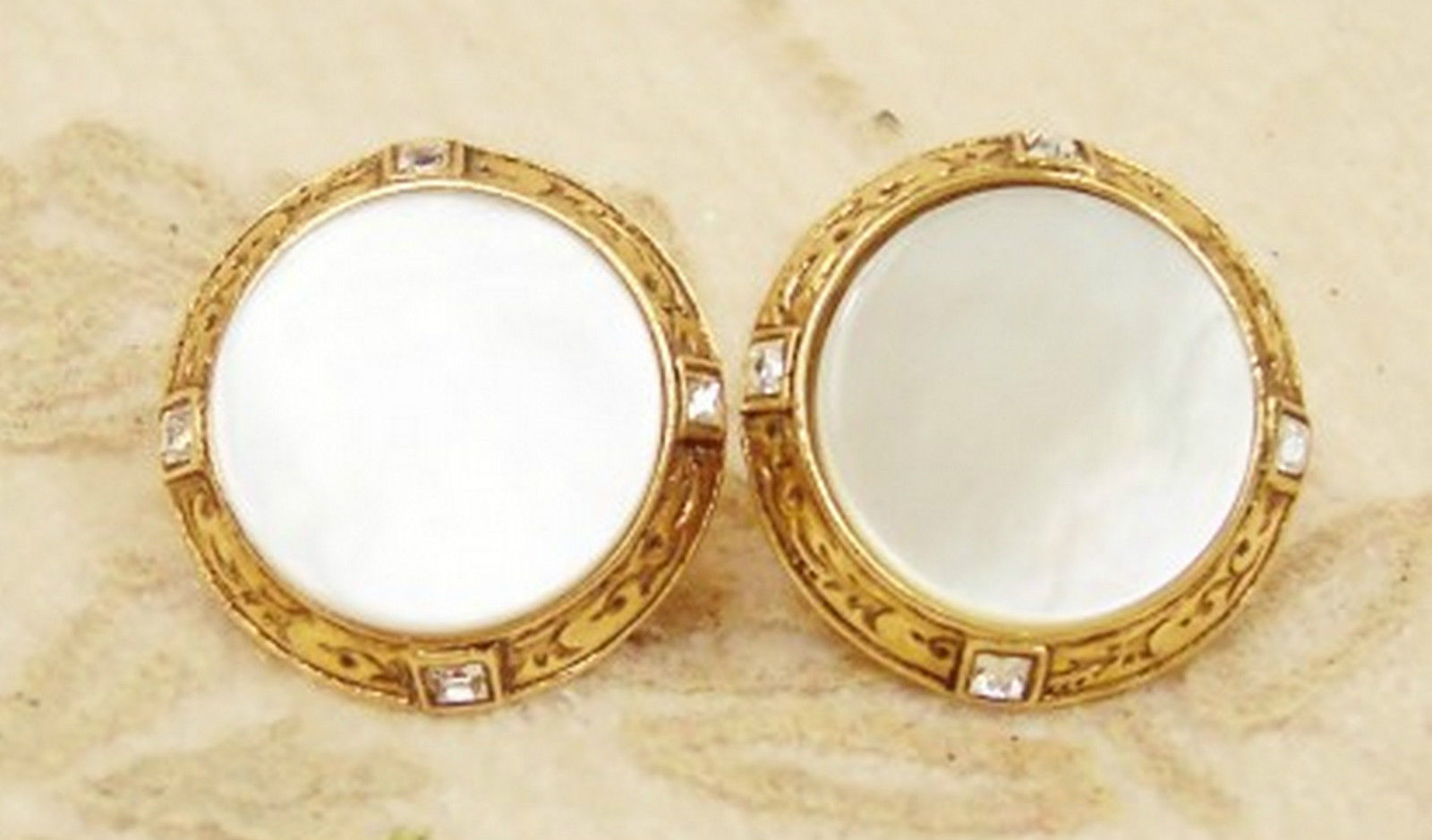 Vatican Jewelry Collection Earrings Mother of Pearl MOP Vintage Jewelry Mint