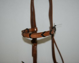 Pioneer Horse Tack 3852 Leather Headstall Reins Black Decorative Lacing image 2