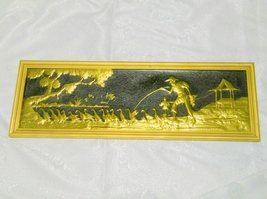 Large Hammered Brass Asian Theme Picture Wall Hanging  - $30.00