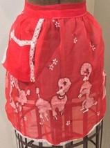 Chiffon Apron Red Poodle Pattern Lace Trim Christmas Baking 50s Home Fre... - $47.06