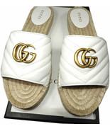 GUCCI Signature Logo Charlotte Espadrille Sandals Slides Mules Shoes 39.5 - $379.99