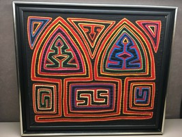 Vintage Small Primitive Hand Made Mola Panama Quilt Wall Hanging Vibrant... - $227.69