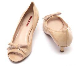 PRADA SPORT Patent Leather Nude Bow Peep Toe Pump Silver Kitten Heel Sz 37 image 7
