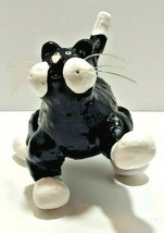 Collectable Cat Figurine Black & White Whimsical Ceramic With Plastic Wh... - $19.26