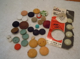 Vintage  33 Assorted Fabric Covered Buttons #11 - $3.99