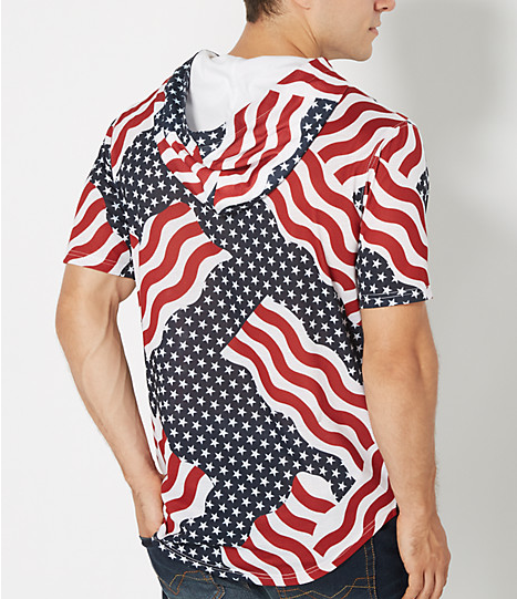 Short sleeve red white and blue hooded top