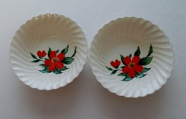 "Royal China Inc. ""Flame"" Pattern Two Cereal Bowls Orange / Red Flower  - $9.89"