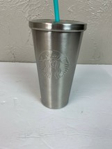 Starbucks Stainless Embossed Logo Tumbler silver siren mermaid straw - $18.65