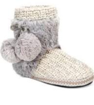 Muk Luks Coralee Gray Knit Short Slipper Boots Small 5 6 Women's Big Kid... - £20.29 GBP