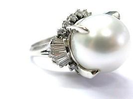 Platinum South Seas Pearl Diamond Anniversary Jewelry Ring 13.6mm .94CT - $2,524.50