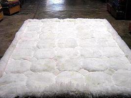 White alpaca fur rug with Octagon designs, from Peru 90 x 60 cm - $184.50