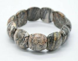 Brown Black White Jasper Polished Stone Bead Stretch Vintage Bracelet On... - $24.74