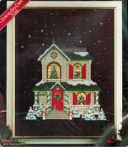 """Christmas Traditions Glow in the Dark Holiday House Cross Stitch Kit 11""""... - $21.99"""