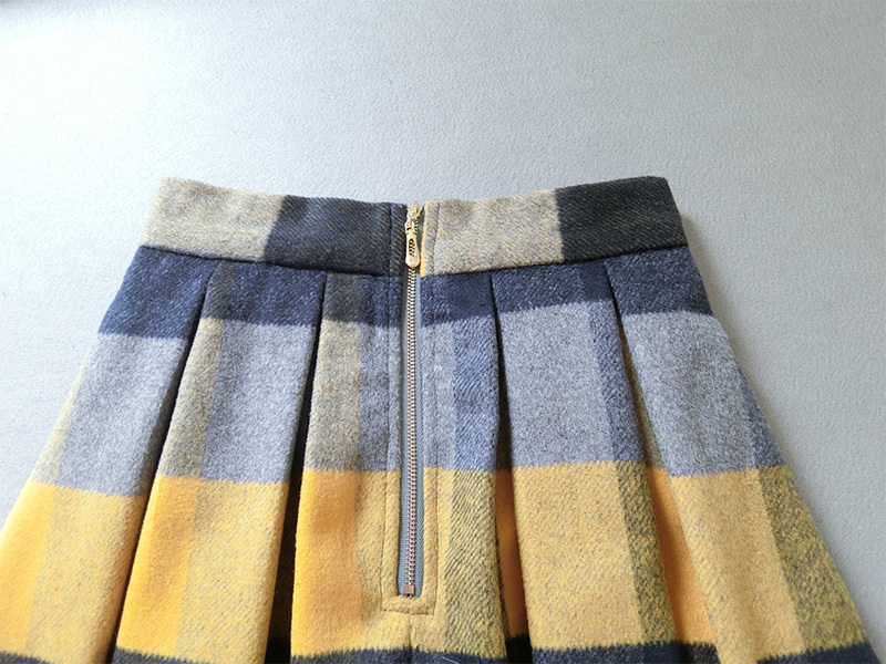 Women Yellow Plaid Pleated Skirt High Waist Winter Wool Pleated Skirt Plus Size