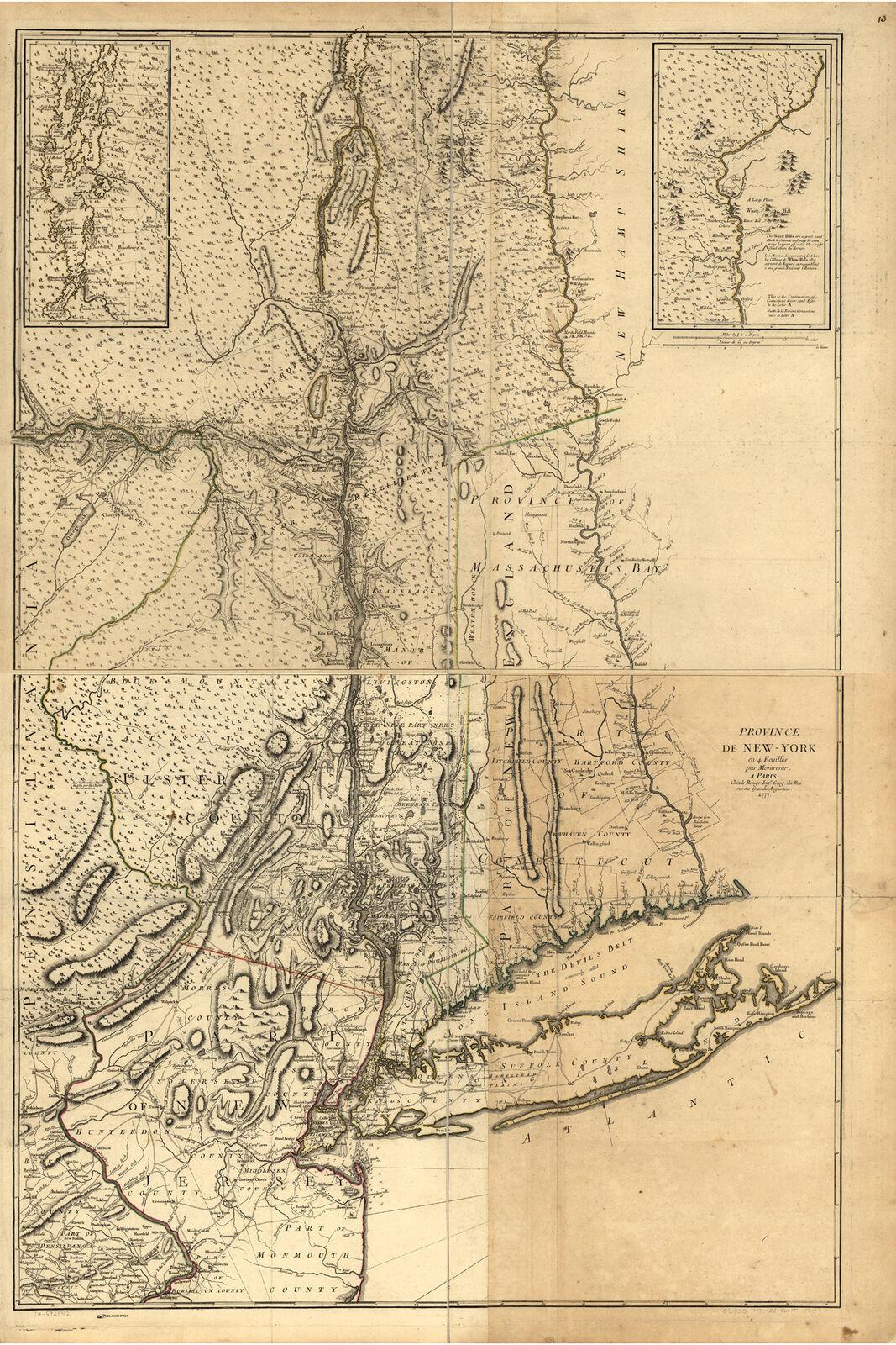 Map of New York, Antique Map, 1777; Province de New-York en 4 Feuilles - $26.72 - $37.61