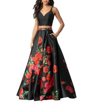 Womens Two Pieces Floral Print Prom Dresses 2018 Long Evening Gowns With... - $108.65