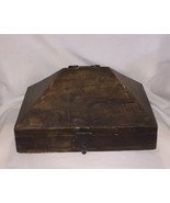 Antique wooden dowry box Malabar India solid wood pyramid shaped with ha... - $50.00