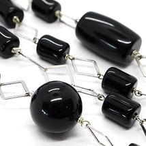 SILVER 925 NECKLACE, ONYX BLACK PIPE AND ROUND, LENGTH 31 1/2in, CHAIN RHOMBUSES image 3