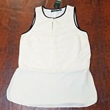 Lauren Ralph Lauren Women's Contrast-Trim Crepe Tank  Pearl /Black Size 6 - $24.81