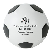 "Personalized Custom Mini 6"" Soccer Ball Pink Stars Birth Announcement Gift - $34.95"