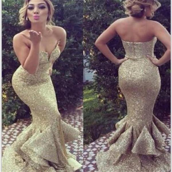 Gold sequin sparkle sweetheart long charming party evening elegant prom dresses online pd0079