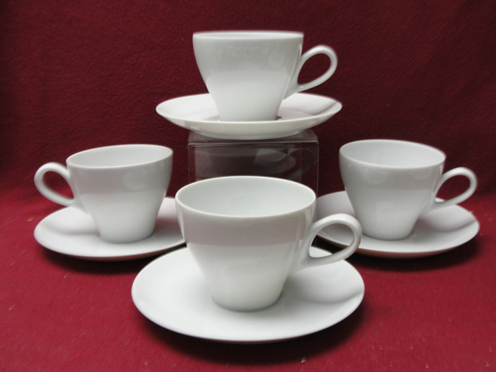 Primary image for Set of Four (4) MIKASA China - SOPHISTICATE (all white) - CUP & SAUCER SETS