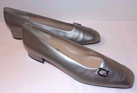 Silver Leather Size 7.5 AA Pumps Salvatore Ferragamo Metallic Accent Log... - $38.60