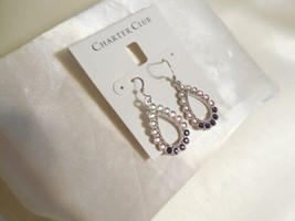 "Charter Club 1-3/4"" Silver-Tone Stone Teardrop Ombre Drop Earrings R737 $34 - $11.51"