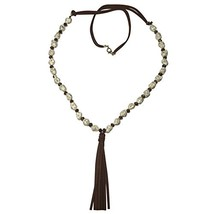 Long Cream Stone Glass Beads & Faux Leather Tassel Beaded Necklace & - $36.11