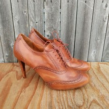 Cole Haan Violet Air  Pumps Sz 10.5 Cognac-Brown Cap Toe Oxford Style Booties - $40.00